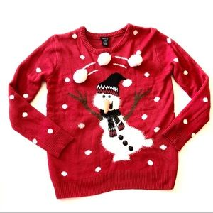 Rue 21 Large Christmas Sweater Red Snowman Ugly